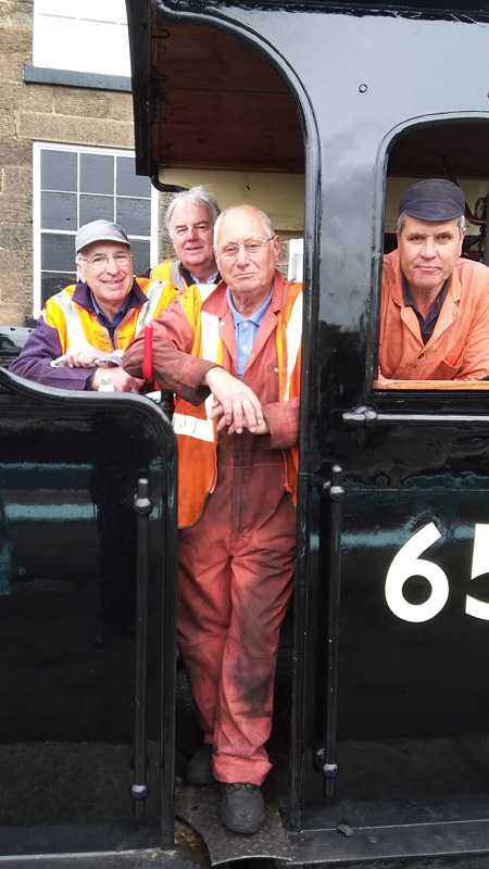 Steve Hyman Alan Featonby Ian Pearson and Jon Bradley on the J27 footplate at Grosmont 16 May 2018. - Ian Pearson