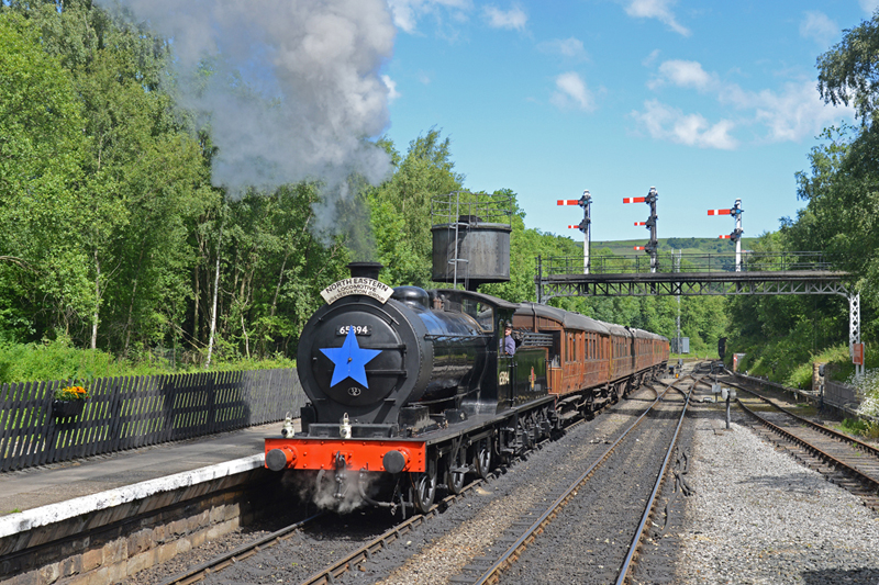J27 approaching Grosmont station with empty stock for launch train - John Hunt
