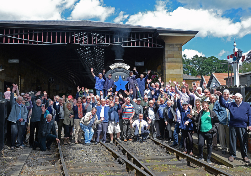 J27 formal launch train passengers celebrating at Pickering Station - John Hunt