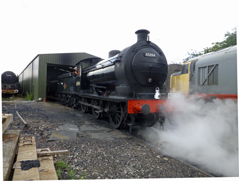– Richard Pearson has arrived to carry out the necessary Fitness to Run checks and can be seen at the controls moving the loco from the shed a short distance to await the arrival of the last service train of the day - Steve Hyman