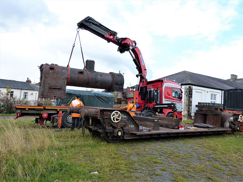 69023 boiler being lowered onto the lorry at Hopetown on 14 October 2020. Terry Newman. NELPG Collection.