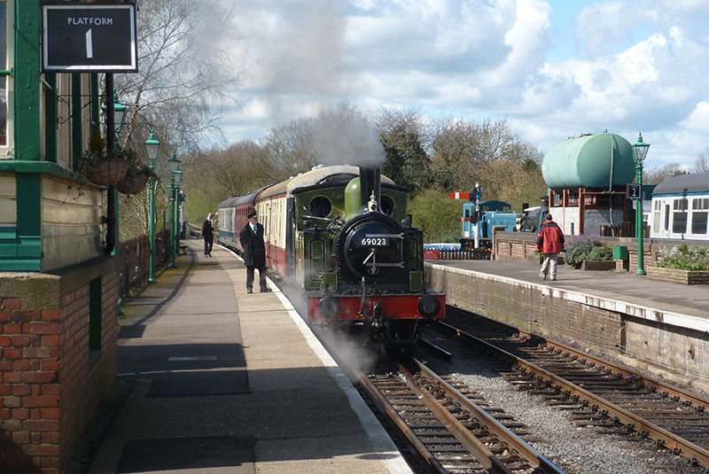 69023 on Epping and Ongar Railway about to depart North Weald with 1230 train to Ongar on 11 April 2015 Alan Usher