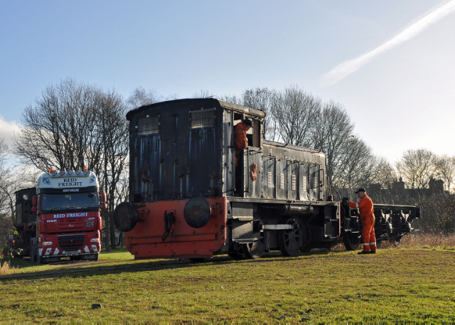 Pushing the J27 tender frames into the New Forest whilst the J72 waits on the Low loader - Colin Smith