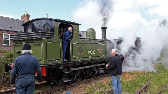 Driver Terry Newman pushes the shunter to the first headshunt whilst Tim Willliamson and Fred Ramshaw watch - Nigel Hall