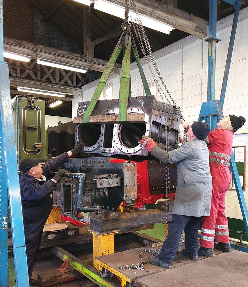 The cylinder block is lifted out of the frames - Nigel Nall