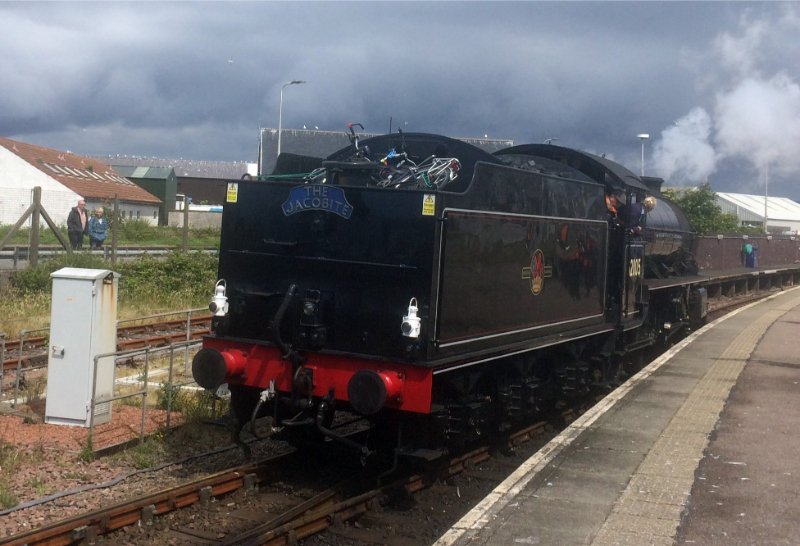 Mallaig 62005 with tandem on tender back - John Midcalf