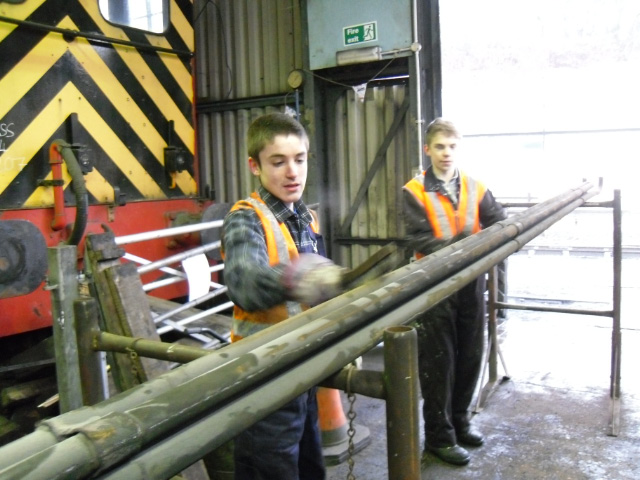 Ethan and Little Tom also cleaning superheater elements - Andy Lowes