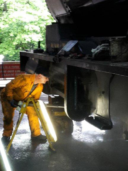 Ian Pearson steam cleaning Q6 frames at Grosmont - Nigel Hall