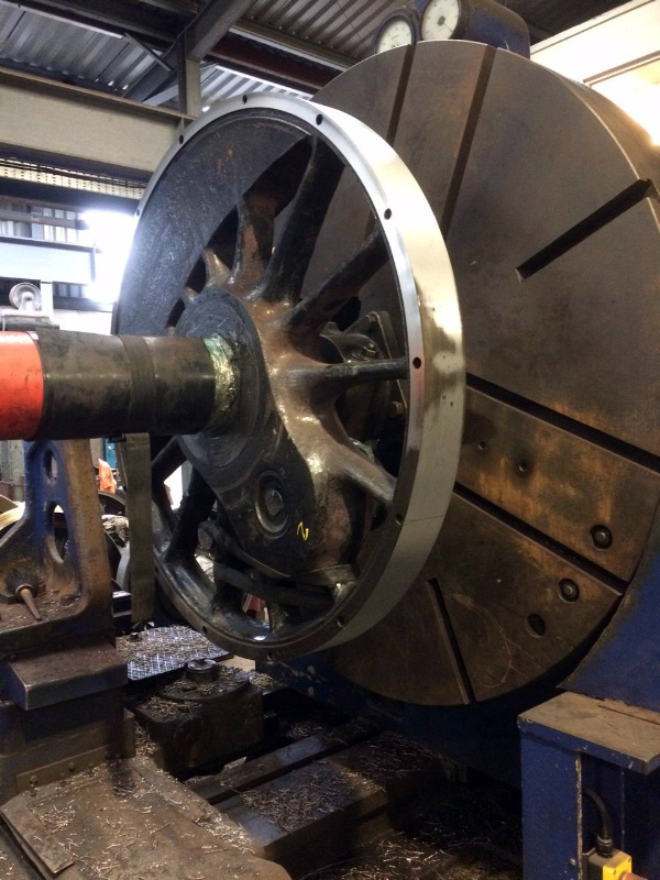The first Q6 wheelset in the lathe at Buckfastleigh - Rob Le Chevalier