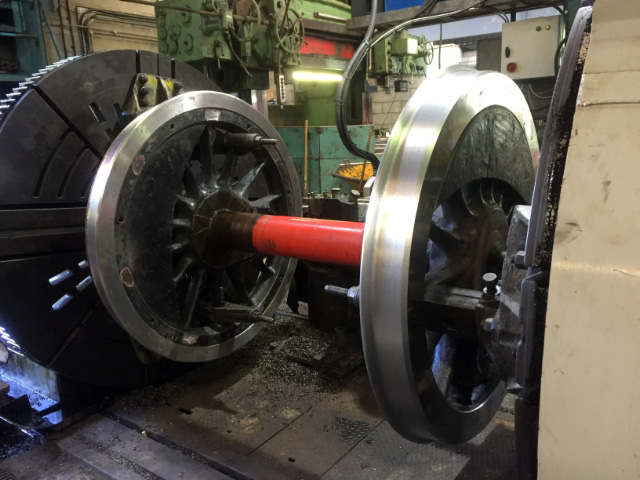 A wheelset on profiling lathe at South Devon Railway - Mark O Brien