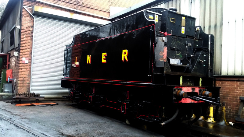 The B1 repainted tender stands on No 1 shed road - Ian Pearson
