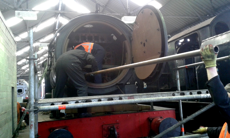 First of the small tubes being inserted into the Q6 boiler - Chris Lawson