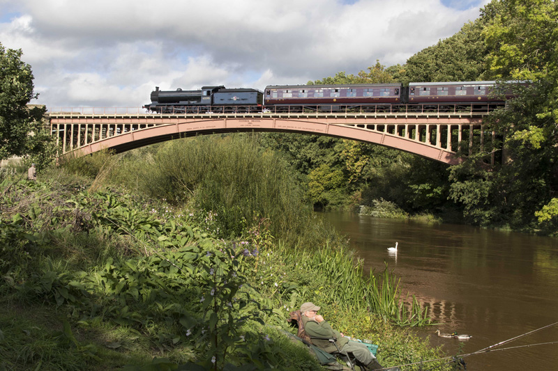 Q6 crosses Victoria Bridge with the 15.15 ex Kidderminster to Bridgnorth on the Severn Valley Railway. 21 September 2018 - Paul Jameson