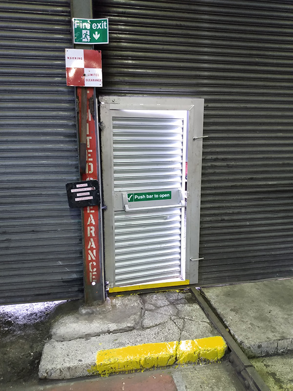 Deviation Shed No 7 Road roller shutter door fire exit. 30 October 2019 - Chris Lawson