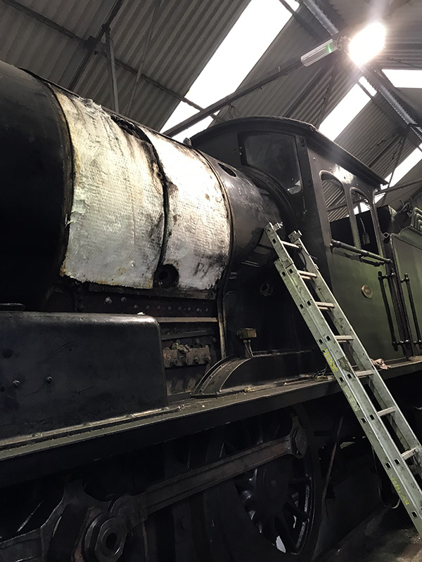 63395 boiler in Deviation Shed with No 5 left side cladding sheet removed on 1 July 2020 - Ian Pearson.