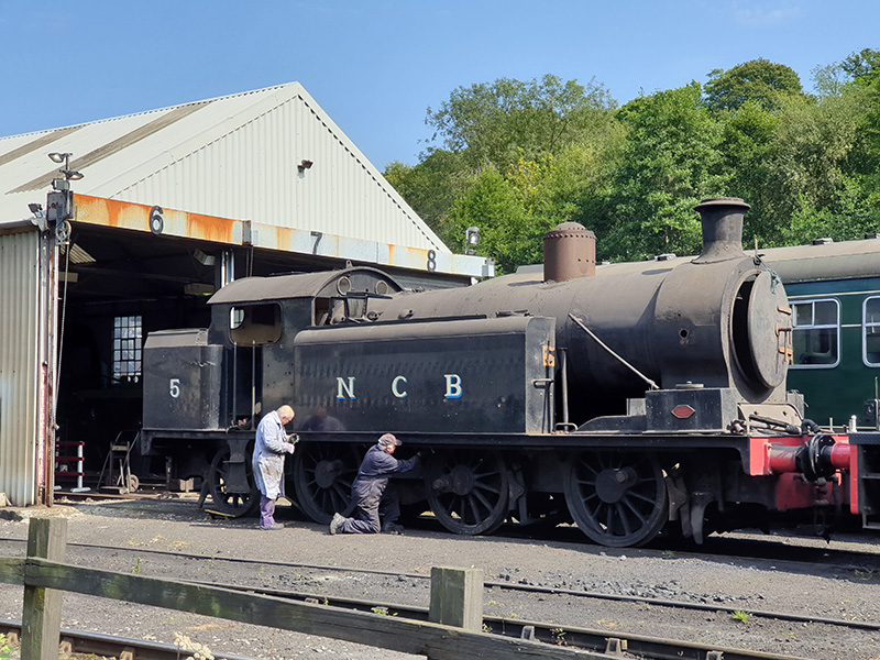 No 5's water feed pipe being removed by Chris Cubitt and Sean Bowler after it had been moved out of Deviation Shed on 11 August 2020 - Nigel Hall
