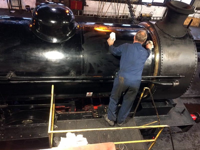 65894 being wax polished at Grosmont MPD on 28 August 2020 - Terry Newman.