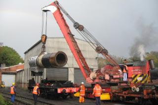 Boiler being lowered into frames